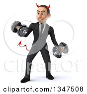 Clipart Of A 3d Young White Devil Businessman Working Out And Doing Bicep Curls With Dumbbells Royalty Free Illustration
