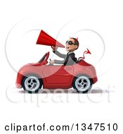 Clipart Of A 3d Young White Devil Businessman Wearing Sunglasses Announcing With A Megaphone And Driving A Red Convertible Car To The Left Royalty Free Illustration