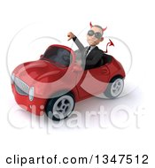Clipart Of A 3d Young White Devil Businessman Wearing Sunglasses Giving A Thumb Down And Driving A Red Convertible Car Slightly To The Left Royalty Free Illustration