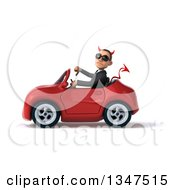 Clipart Of A 3d Young White Devil Businessman Wearing Sunglasses Giving A Thumb Down And Driving A Red Convertible Car To The Left Royalty Free Illustration