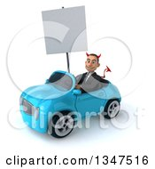 Clipart Of A 3d Young White Devil Businessman Holding A Blank Sign And Driving A Blue Convertible Car Slightly To The Left Royalty Free Illustration