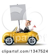Clipart Of A 3d Young White Devil Businessman Holding A Blank Sign And Driving A Yellow Convertible Car To The Left Royalty Free Illustration