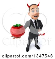 Clipart Of A 3d Young White Devil Businessman Holding Up A Tomato Royalty Free Illustration
