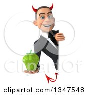 Clipart Of A 3d Young White Devil Businessman Holding A Green Bell Pepper Around A Sign Royalty Free Illustration