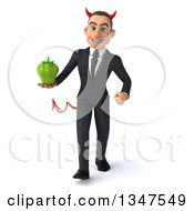 Clipart Of A 3d Young White Devil Businessman Holding A Green Bell Pepper And Walking Royalty Free Illustration