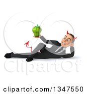 Clipart Of A 3d Young White Devil Businessman Holding A Green Bell Pepper And Resting On His Side Royalty Free Illustration