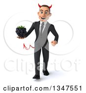 Clipart Of A 3d Young White Devil Businessman Holding A Blackberry And Walking Royalty Free Illustration
