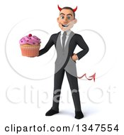 Clipart Of A 3d Young White Devil Businessman Holding A Cupcake Royalty Free Illustration