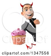 Clipart Of A 3d Young White Devil Businessman Holding A Cupcake Around A Sign Royalty Free Illustration