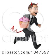 Clipart Of A 3d Young White Devil Businessman Holding A Cupcake And Sprinting To The Right Royalty Free Illustration