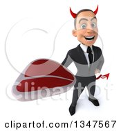 Clipart Of A 3d Young White Devil Businessman Holding Up A Beef Steak Royalty Free Illustration