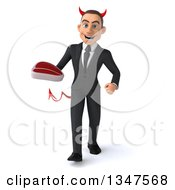 Clipart Of A 3d Young White Devil Businessman Holding A Beef Steak And Walking Royalty Free Illustration