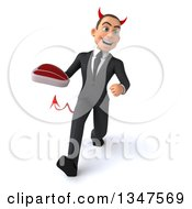 Clipart Of A 3d Young White Devil Businessman Holding A Beef Steak And Speed Walking Royalty Free Illustration