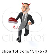 Clipart Of A 3d Young White Devil Businessman Holding A Beef Steak And Sprinting Royalty Free Illustration