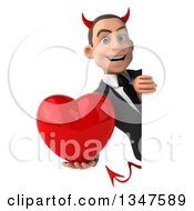 Clipart Of A 3d Young White Devil Businessman Holding A Love Heart Around A Sign Royalty Free Illustration