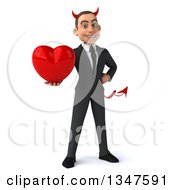 Clipart Of A 3d Young White Devil Businessman Holding Out A Love Heart Royalty Free Illustration