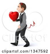 Clipart Of A 3d Young White Devil Businessman Holding A Love Heart And Walking To The Left Royalty Free Illustration