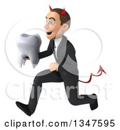 Clipart Of A 3d Young White Devil Businessman Holding A Tooth And Sprinting To The Left Royalty Free Illustration