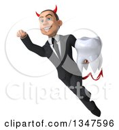 Clipart Of A 3d Young White Devil Businessman Holding A Tooth And Flying Royalty Free Illustration