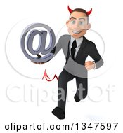 Clipart Of A 3d Young White Devil Businessman Holding An Email Arobase At Symbol And Sprinting Royalty Free Illustration