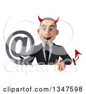 Clipart Of A 3d Young White Devil Businessman Holding An Email Arobase At Symbol Over A Sign Royalty Free Illustration