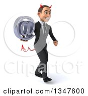 Clipart Of A 3d Young White Devil Businessman Holding An Email Arobase At Symbol And Walking Slightly To The Right Royalty Free Illustration