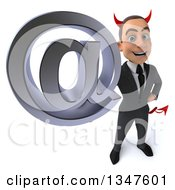 Clipart Of A 3d Young White Devil Businessman Holding Up An Email Arobase At Symbol Royalty Free Illustration