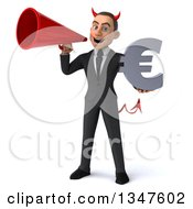 Clipart Of A 3d Young White Devil Businessman Holding A Euro Currency Symbol And Announcing With A Megaphone Royalty Free Illustration