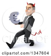 Clipart Of A 3d Young White Devil Businessman Holding A Euro Currency Symbol And Speed Walking To The Left Royalty Free Illustration