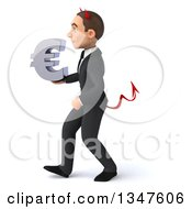 Clipart Of A 3d Young White Devil Businessman Holding A Euro Currency Symbol And Walking To The Left Royalty Free Illustration