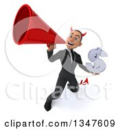 Clipart Of A 3d Young White Devil Businessman Holding A Dollar Currency Symbol And Announcing With A Megaphone Royalty Free Illustration