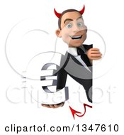 Clipart Of A 3d Young White Devil Businessman Holding A Euro Currency Symbol Around A Sign Royalty Free Illustration