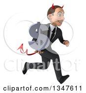Clipart Of A 3d Young White Devil Businessman Holding A Dollar Currency Symbol And Sprinting To The Right Royalty Free Illustration