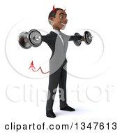 Clipart Of A 3d Young Black Devil Businessman Working Out Doing Lateral Raises With Dumbbells Royalty Free Illustration
