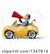 Clipart Of A 3d Young Black Devil Businessman Announcing With A Megaphone And Driving A Yellow Convertible Car To The Left Royalty Free Illustration