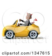 Clipart Of A 3d Young Black Devil Businessman Giving A Thumb Down And Driving A Yellow Convertible Car To The Left Royalty Free Illustration