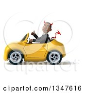 Clipart Of A 3d Young Black Devil Businessman Giving A Thumb Up And Driving A Yellow Convertible Car To The Left Royalty Free Illustration
