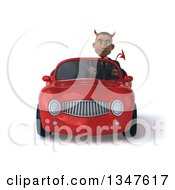 Clipart Of A 3d Young Black Devil Businessman Driving A Red Convertible Car Royalty Free Illustration
