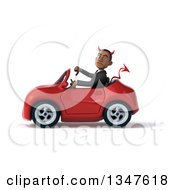 Clipart Of A 3d Young Black Devil Businessman Giving A Thumb Down And Driving A Red Convertible Car To The Left Royalty Free Illustration