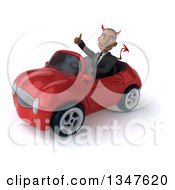 Clipart Of A 3d Young Black Devil Businessman Giving A Thumb Up And Driving A Red Convertible Car Slightly To The Left Royalty Free Illustration