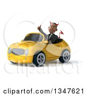 Clipart Of A 3d Young Black Devil Businessman Giving A Thumb Up And Driving A Yellow Convertible Car Slightly To The Left Royalty Free Illustration