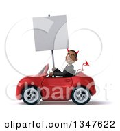 Clipart Of A 3d Young Black Devil Businessman Holding A Blank Sign And Driving A Red Convertible Car To The Left Royalty Free Illustration