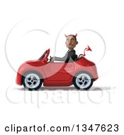 Clipart Of A 3d Young Black Devil Businessman Driving A Red Convertible Car To The Left Royalty Free Illustration
