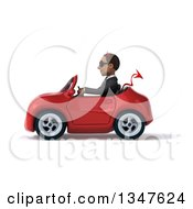 Clipart Of A 3d Young Black Devil Businessman Wearing Sunglasses And Driving A Red Convertible Car To The Left Royalty Free Illustration