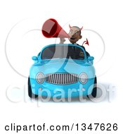Clipart Of A 3d Young Black Devil Businessman Announcing With A Megaphone And Driving A Blue Convertible Car Royalty Free Illustration