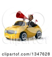 Clipart Of A 3d Young Black Devil Businessman Announcing With A Megaphone And Driving A Yellow Convertible Car Slightly To The Left Royalty Free Illustration