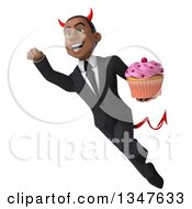 Clipart Of A 3d Young Black Devil Businessman Holding A Cupcake And Flying Royalty Free Illustration