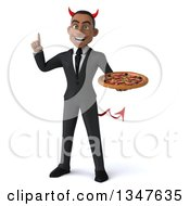 Clipart Of A 3d Young Black Devil Businessman Holding Up A Finger And A Pizza Royalty Free Illustration