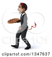 Clipart Of A 3d Young Black Devil Businessman Holding A Pizza And Walking To The Left Royalty Free Illustration