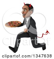 Clipart Of A 3d Young Black Devil Businessman Holding A Pizza And Sprinting To The Left Royalty Free Illustration